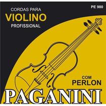 Paganini Jogo De Corda Violino Profissional C/ Perlon Pe-980