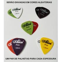 Kit 10 Palhetas Violão Cavaco Guitarra Alice 5 Espessuras