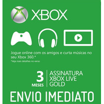 Xbox Live Gold Americano Us - Cartão De 3 Meses - Xbox 360
