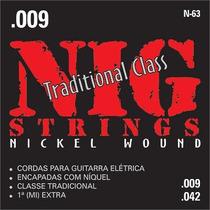 Jogo De Cordas P/ Guitarra 009 Nig N63 03 Sets + Brinde