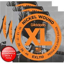 3 Jogos De Cordas Daddario 010 046 Nickel P/ Guitarra Exl110