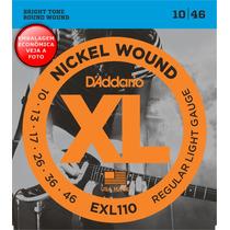 Encordoamento 010 P/ Guitarra Daddario Exl110 Nickel Wound