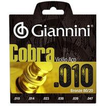 Jogo De Cordas Violão Aço Serie Cobra 010 Giannini