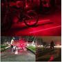 Luz Lanterna Traseira Bike Pisca Farol C/ Faixa Laser 5 Leds