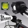Lanterna Farol Bike T6 Com Zoom 6 Baterias Autonomia 8 Horas