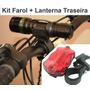Kit Com Farol Dianteiro 18000w Lanterna Traseira Bicicleta