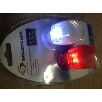 Kit Segurança Farol Lanterna Bike 2 Leds 2 Peças Silicone