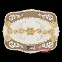 Fivela Cowboy Brand C/ Detalhes Em Flores