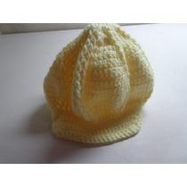 Touca Boina De Crochê Feminina Amarela