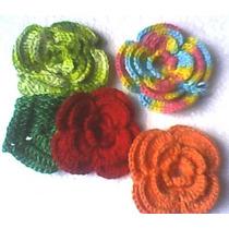 Kit C/ 10 Flores De Croche P/ Roupas Tictac Colar E Colares