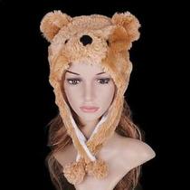 Touca Gorro Bichinhos De Pelúcia Inverno Cosplay Urso Marrom