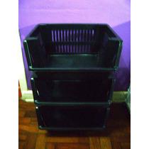 Estante Plástica 3 Cestos Organizadores Empilháveis