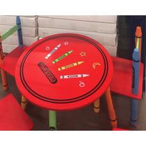 Conjunto De Mesa Infantil E 4 Cardeiras Modelo Crayon