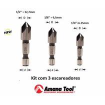 Kit Escareador Aço Rápido 5 Cortes Amana Tool 3 Peças