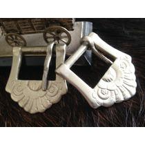Par Antigas Fivelas 125 Alpaca Eberle Metal Branco Lote 501