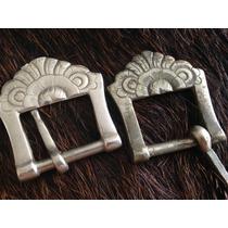 Par Antigas Fivelas 125 Alpaca Eberle Metal Branco Lote 509