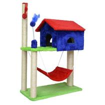 Arranhador Gato Casa C/ Rede Az/vm 104x35x70