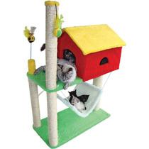 Arranhador House Casa Para Gatos Com Rede - Vermelho Amarelo