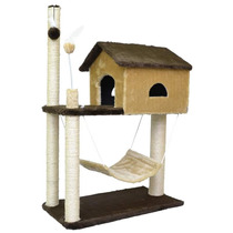 Arranhador House Casa Para Gatos Com Rede - Marrom