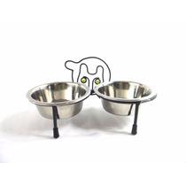 Comedouro Cães E Gatos Pote Inox Duplo Comida Agua -m3