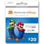 Cartão Nintendo 3ds - Wii U Eshop Cash Card $20 - Aproveite!