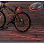 Luz Traseira Para Bicicleta Com 3 Leds + 2 Feixes De Laser