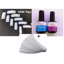 1000 Tips Unhas P/ Gel+ 1 Topcoat +1 Primer +10 Lixas Banana