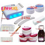 Kit Unha Gel Uv Acrygel Fibra Lixa Banana Cabine Uv 36w