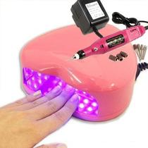 Kit Cabine Estufa Uv Led + Lixa Lixadeira Elétrica Unha Gel