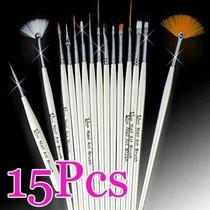 Kit 15 Pincéis P/ Unhas Artísticas Decoradas - Profissional
