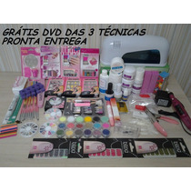 Kit Unha Gel Acrygel Acrílica Porcelana Decoraç.cabine Lixad