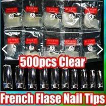 Kit 4x 500 Tips Unhas Sorriso Transparentes