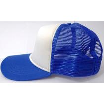 Boné Trucker Tela Oldschool Redinha Baseball Branco E Azul