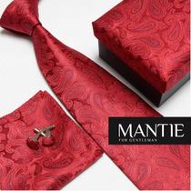 Conjunto Gravata Seda Vermelho - Importada