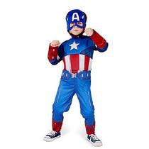 Fantasia Infantil Capitão América Longa De Luxo Com Músculos