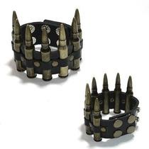 Bracelete Couro Com Réplica De Balas Punk Rock Metal Gótico