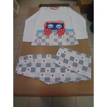 Pijama Cara De Criança Blusa Meia Malha + Calça. Tam: 10,12.