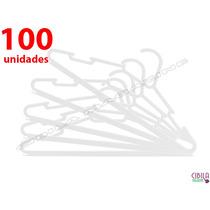 Kit 100 Cabides Plastico Branco - Reforçado Para Arara Roupa