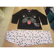 Pijama Cara De Criança Blusa Meia Malha + Calça. Tam: 4,6,8.