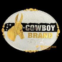 Fivela Mula C/ Banho Dourado E Prata - Cowboy Brand - Único