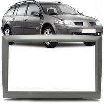 Moldura Painel 2 Din Renault Megane + Kit Fixação Cor Prata