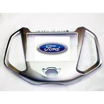 Moldura 2din Ford Ka 1.5 Com Relógio Cima 2015 Prata Clara