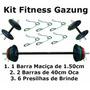 Kit Anilhas 30kg + 1 Barra De 1,20 + 2 Barras De 40cm