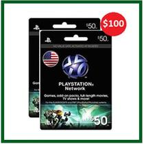 Psn Card - Playstation Network Card - Cartão Psn 100 - 2x 50