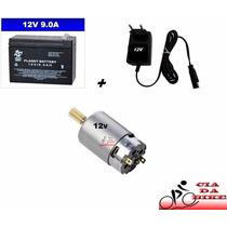 Bateria 12v 9ah + Carregador + Motor 12v P/ Moto Elétrica