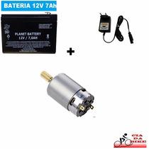 Bateria + Carregador + Motor 12v P/ Moto Elétrica + Brinde*