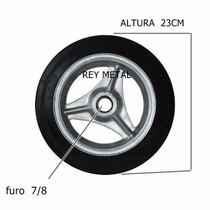 Roda Aluminio Pneu Maciço Furo 7/8 Carrinhos Diversos