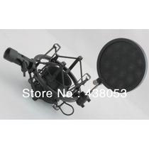 Suporte Shock Mount Aranha Para Microfone Com Pop Filter