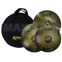 Kit Pratos P/ Bateria Krest Aged Brass - Maxcomp Musical