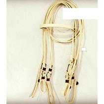 J44- Jogo Rédea E Cabeçada Couro Argolas Inox P/ Cavalo Mula